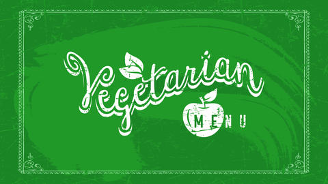 playful vegetarian food restaurant text theme on green chalkboard with drawing of apple using Animation
