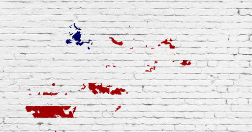 united states of america flag on white brick wall background, splash painted with watercolor effect, Live Action