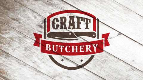 high quality protein beef craft butchery store sign with butcher knife on wood floor background Animation