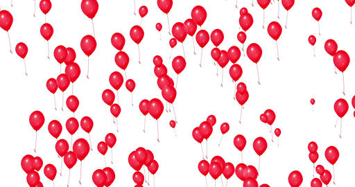red balloons rise on white background, color red, party festive holiday event Live Action