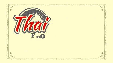 thai aliment showing with used out 70s fancy writing and daylight detailed for asian dining room Animation