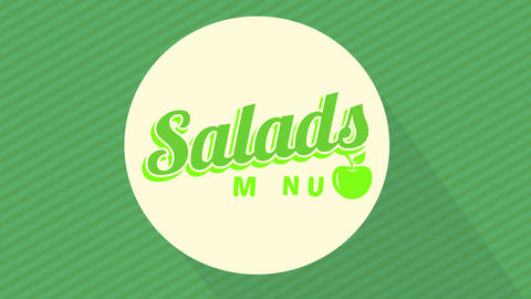 green salads theme card cover art for veggie food store or restaurant with 70s style typography Animation