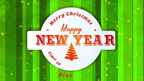 merry xmas and laughing new year time towards give display inside small circular symbol located on Animation