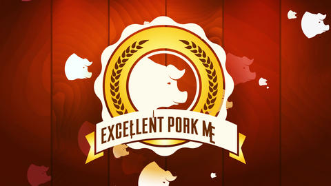 butcher store sign excellent pork meat under rounded seal with cereal branches over timber texture Animation