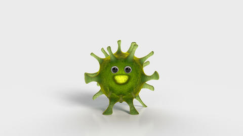 Cute virus character pops up 3D render animation Animation