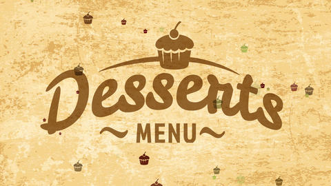 tasty desserts tag concept with cursive typography over golden old-fashioned scene for coffee shop Animation