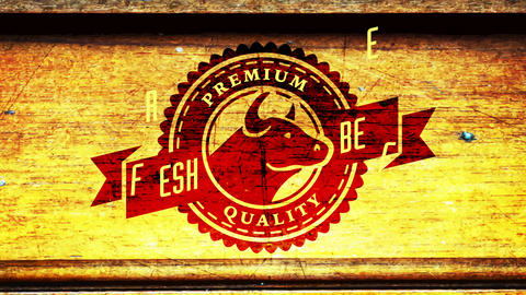 barbecue style premium quality fresh beef butcher shop impression with cow head over wood background Animation