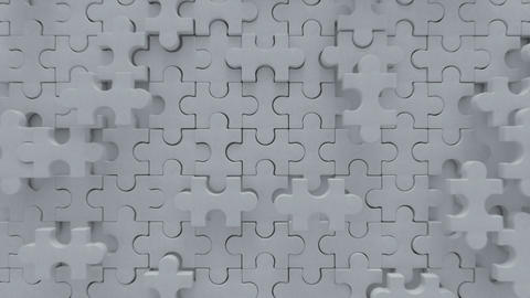 Blank white puzzle is falling down 3D render animation Animation