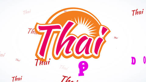 70s style thai food restaurant science using vivid colours with classic typography and piece of Animation
