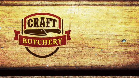 handiwork butchery sell employment signboard with meat cutlery on aged press marker over wooden Animation