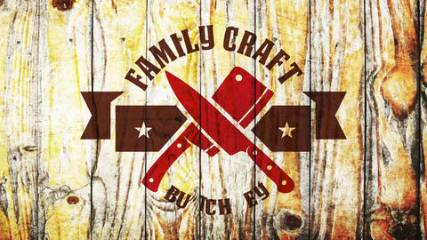 craft butchery family business sign with crossed beef knifes on 3d ribbon impressed on wooden Animation