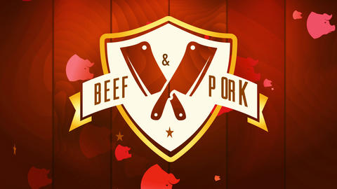 killing selling cattle and pig meat elegant concept with crossed cutlery visual over numeric wooden Animation