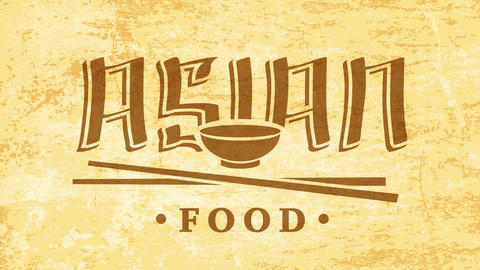restaurant sign selling asian food idea with bowl and chopsticks graphics over old textile texture Animation