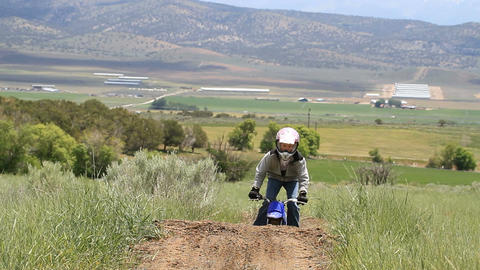 Boy on dirt bike slow P HD 0844 Footage