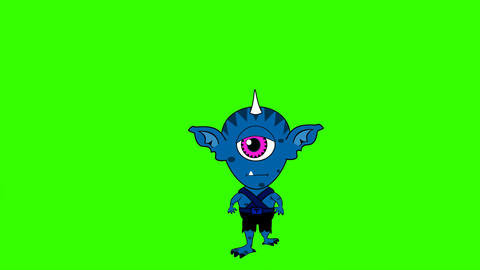 Cartoon Space Alien, Running Toward Viewer: Loop + Matte Animation