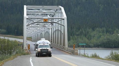 Bridge trailer truck crossing P HD 0123 Footage