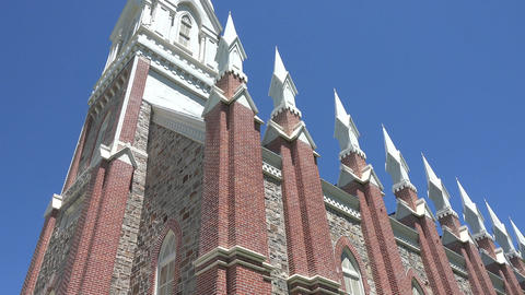 Brigham City Utah Tabernacle tilt down from steeple 4K 010 Footage