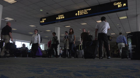 Busy crowd Dulles International Airport passenger terminal 4K 047 Footage