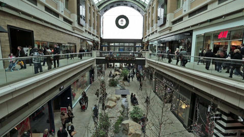 Busy urban city shopping mall Christmas Holiday HD 0234 Footage