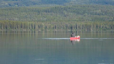 Canoe fishing mountain lake P HD 0167 Footage