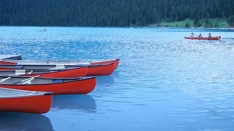 Canoe floating Lake Louise P HD 7487 Footage