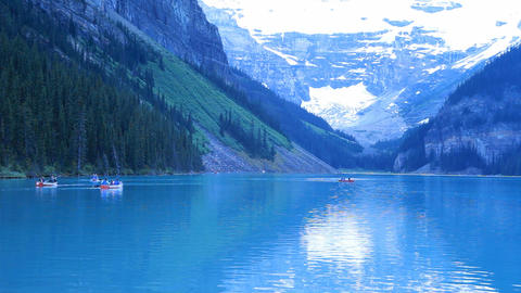 Canoes glacial lake Louise P HD 7470 Footage