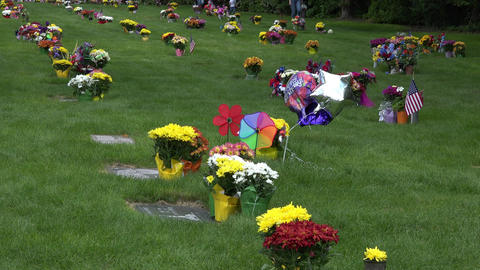 Cemetery Memorial Day flowers happy birthday 4K 010 Footage