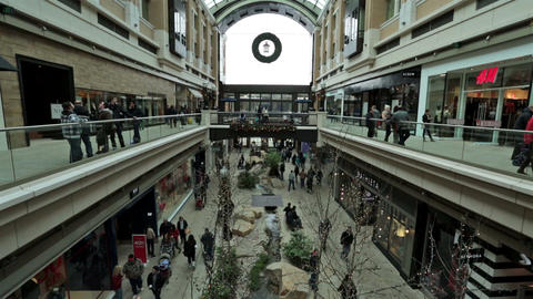 Christmas holiday shopping busy shopping mall HD 0234 Footage