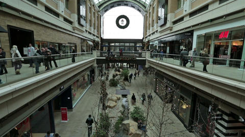 Christmas holiday shopping busy shopping mall fast timelapse HD 0234 Footage