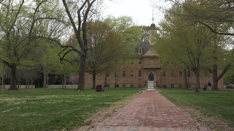 Colonial Williamsburg Virginia College of William and Mary pan 4K 018 Footage