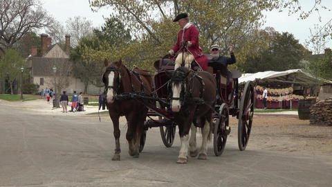 Colonial Williamsburg Virginia tourist historic horse carriage 4K 027 Footage