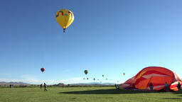 Colorful hot air balloon launch takeoff 4K 050 Live Action