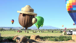 Colorful hot air balloons landing rural farm field 4K 072 Footage