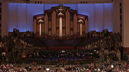 Crowd entering LDS Mormon Conference Center concert HD 0445 Footage