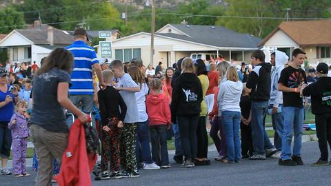 Crowd at event boy stilts P HD 0982 Footage
