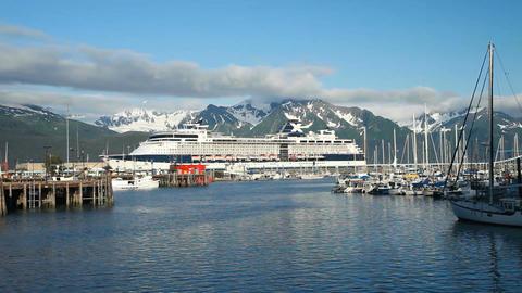 Cruise ship Seward Alaska marina P HD 8124 Footage