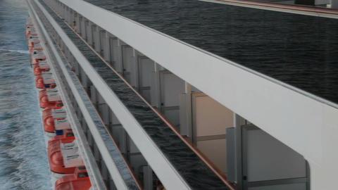 Cruise ship balconies to ocean pan P HD 4337 Footage