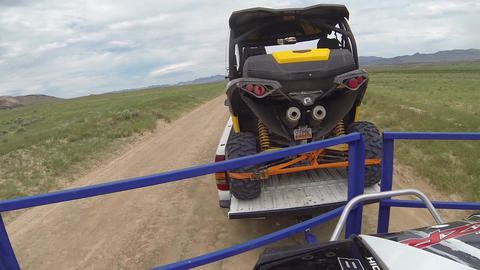 Dirt road off road recreation vehicled truck trailer POV HD 350 Footage