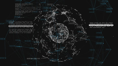 3d seamless animation of Global Business Network rotating in Space. Scientific C Animation