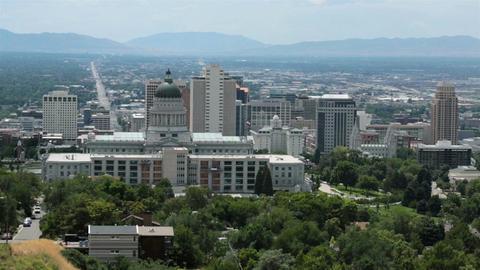 Downtown Salt Lake City Capital Temple Square HD 8654 Footage