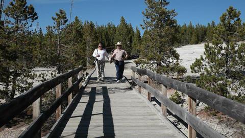 Don Pam Yellowstone boardwalk P HD 2499 Footage