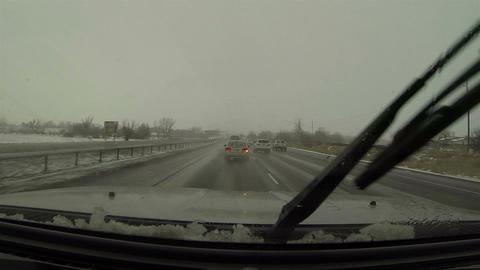 Driving freeway rain snow storm wet roads POV HD 0221 Archivo