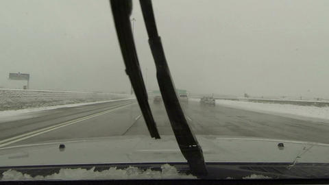 Driving interstate highway snow storm POV HD 0218 Footage