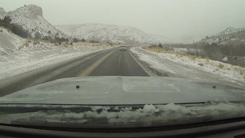 Driving mountain canyon road snow storm fast timelapse POV HD 0209 Footage