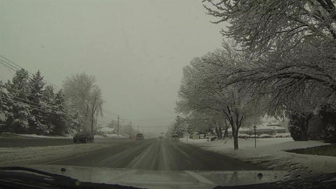 Driving urban city street winter snow storm POV HD 0213 Footage