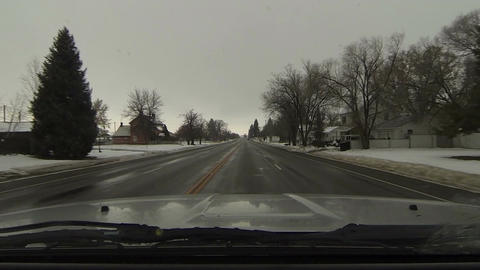 Driving through rural town winter snow fast timelapse POV HD 0224 Footage