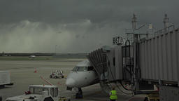 Dulles International Airport aircraft ramp passenger mover DC 4K Live Action