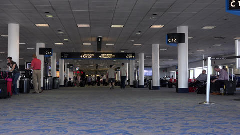 Dulles International Airport passenger gate hallway 4K 037 Footage