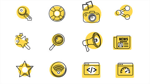 Business Line Icons With Color Spots. 4k Animation