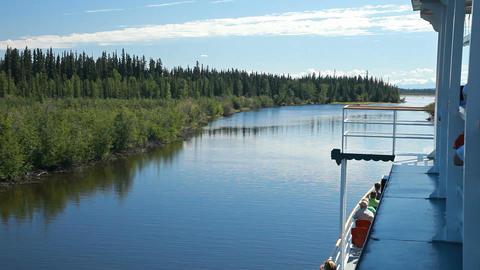 Fairbanks river boat cruise shore P HD 7831 Footage